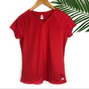 Russell Womens Red V neck Athletic Shirt Large